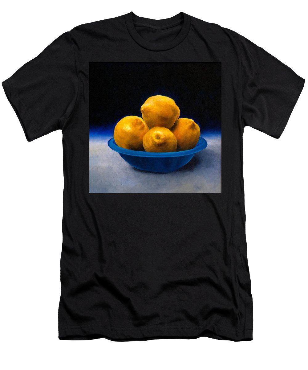 Bowl Of Lemons Men's T-Shirt (Athletic Fit) featuring the painting Bowl Of Lemons by Anthony Enyedy