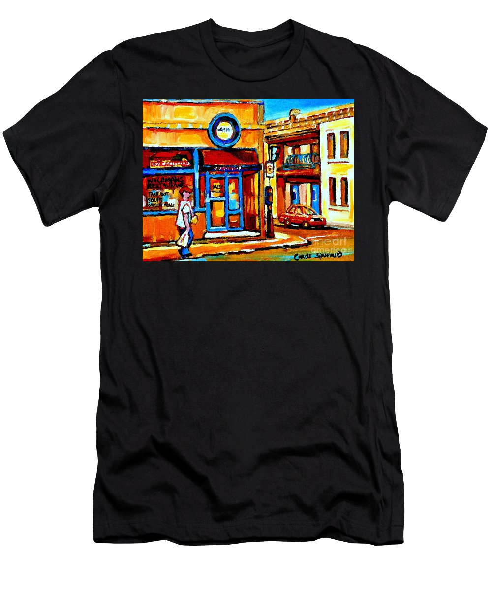 Montreal Fruit Store Men's T-Shirt (Athletic Fit) featuring the painting Boy With Steinbergs Bag Near Waldmans Market Paintings Colonial St Vintage Montreal Art C Spandau by Carole Spandau