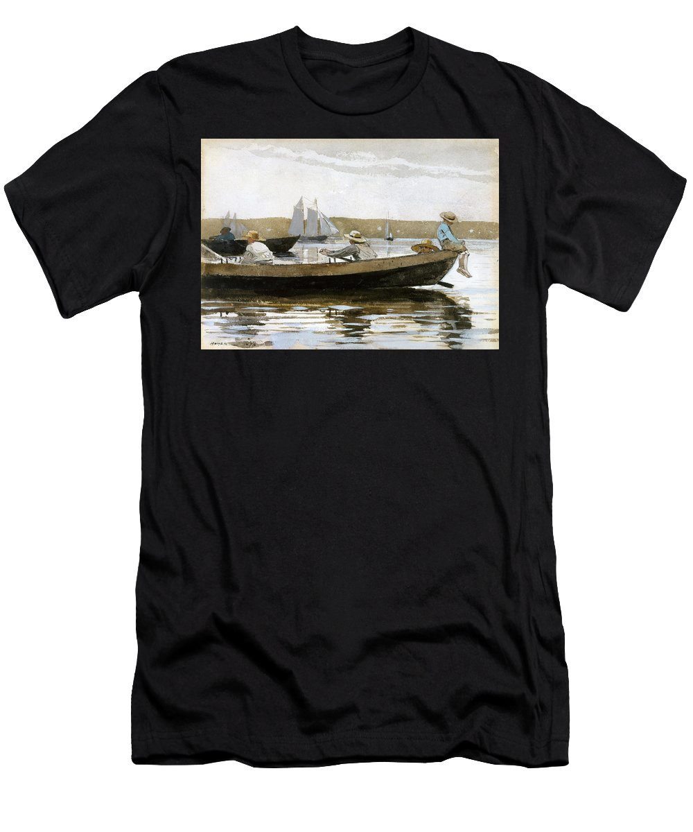 Winslow Homer Men's T-Shirt (Athletic Fit) featuring the drawing Boys In A Dory by Winslow Homer