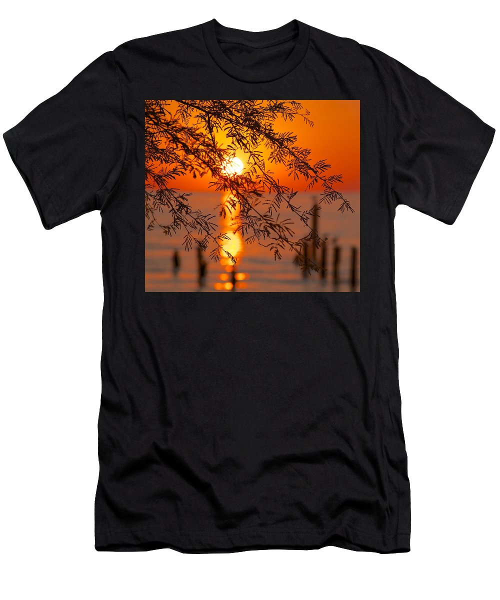 Sunrise Men's T-Shirt (Athletic Fit) featuring the photograph From Afar by Lisa Comperry