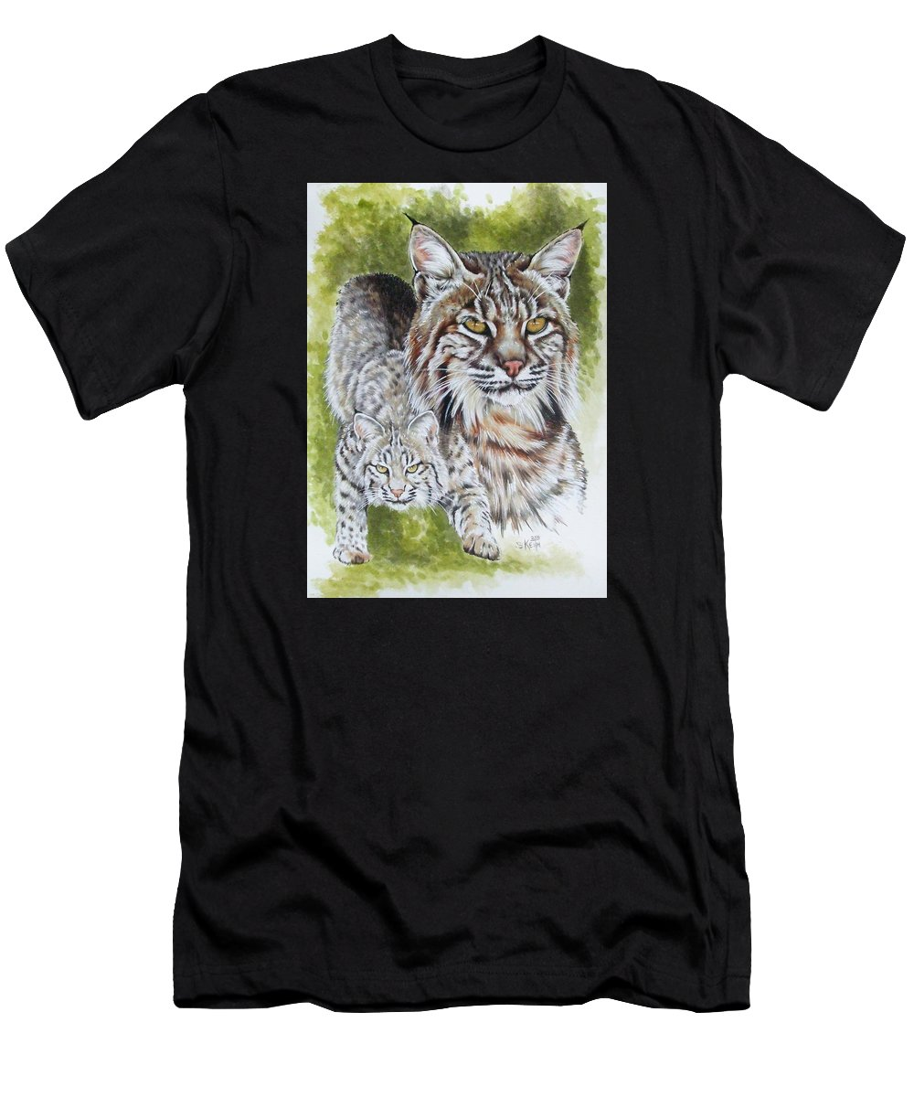 Small Cat Men's T-Shirt (Athletic Fit) featuring the mixed media Brassy by Barbara Keith