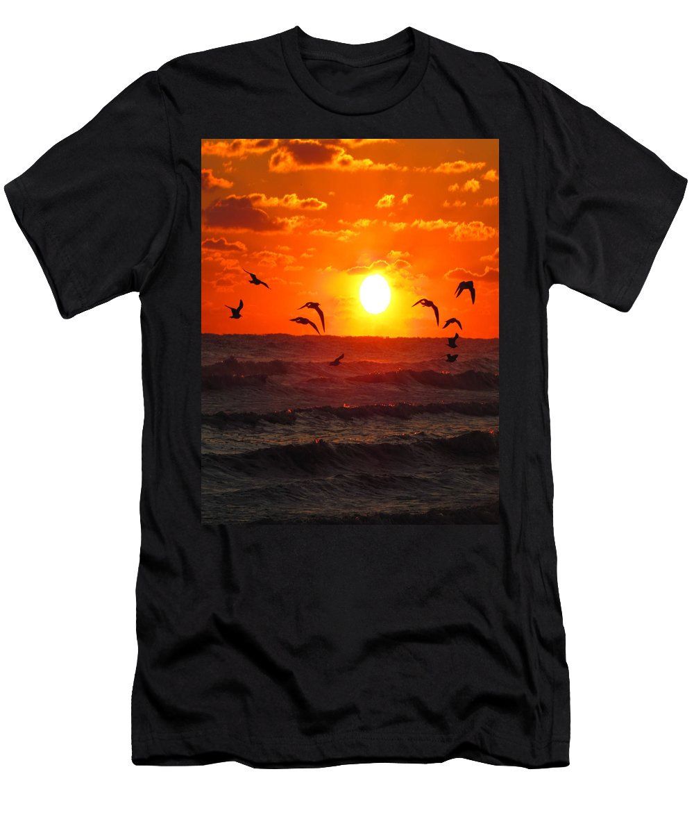 Ron Tackett Men's T-Shirt (Athletic Fit) featuring the photograph Breakfast By The Seaside by Ron Tackett