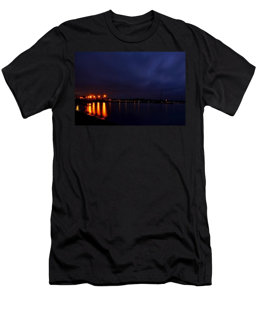 Rhode Island Men's T-Shirt (Athletic Fit) featuring the photograph Brewer Yacht Yard At Cowesett Rhode Island Blue Hour by Lourry Legarde