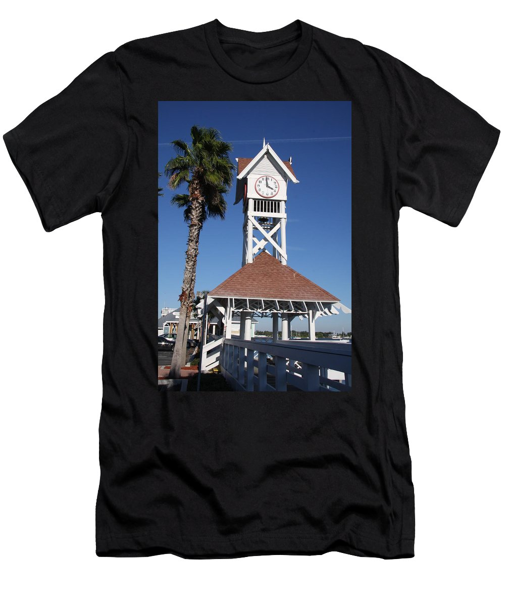 Pier Men's T-Shirt (Athletic Fit) featuring the photograph Bridge Street Pier And Clocktower by Christiane Schulze Art And Photography