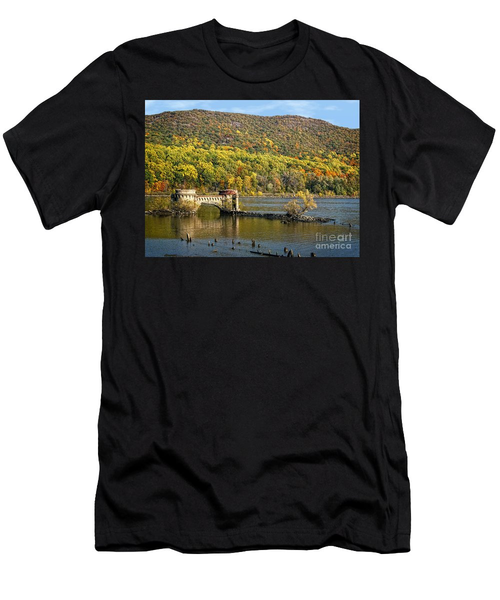 Hudson River Men's T-Shirt (Athletic Fit) featuring the photograph Bridge To Nowhere by Claudia Kuhn