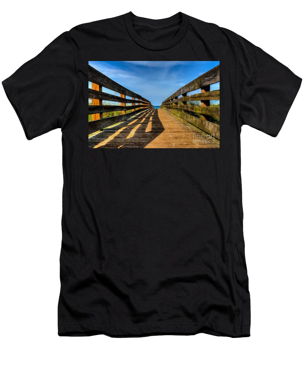 Crescent Beach St. Johns County Anastasia Island St. Augustine Dunes Walkover Fl Florida Atlantic Ocean Men's T-Shirt (Athletic Fit) featuring the photograph Bridge To The Beach by Karl Greeson