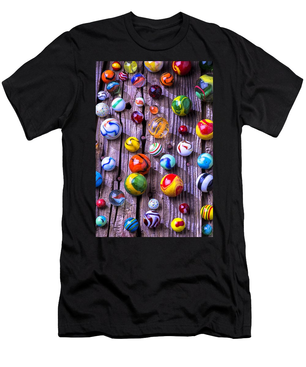 Marbles Men's T-Shirt (Athletic Fit) featuring the photograph Bright Colorful Marbles by Garry Gay