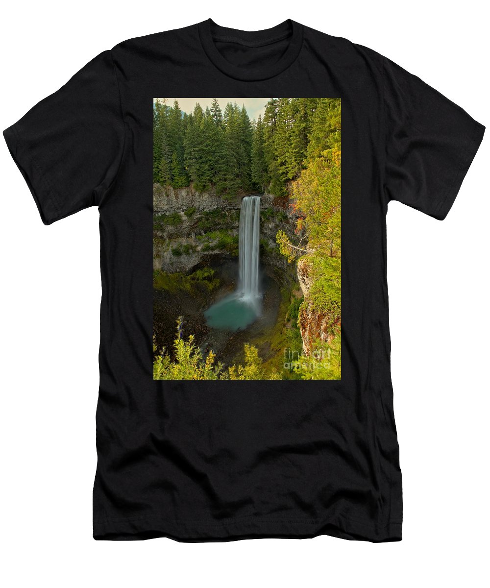 Brandywine Falls Men's T-Shirt (Athletic Fit) featuring the photograph Brisith Columbia Rainforest Plunge by Adam Jewell