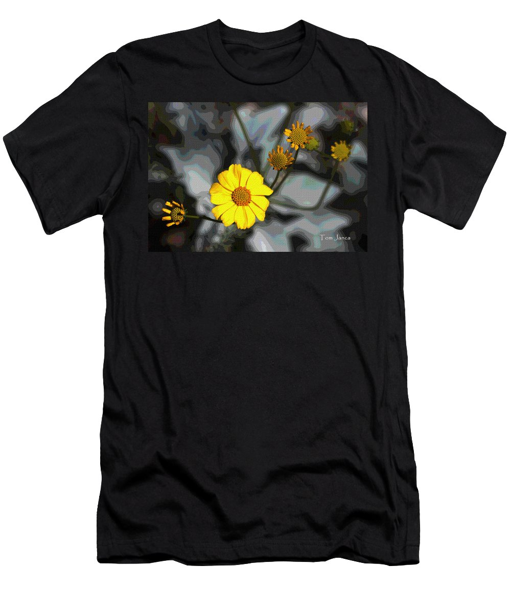 Brittle Bush Men's T-Shirt (Athletic Fit) featuring the photograph Brittle Bush Flowers In December by Tom Janca