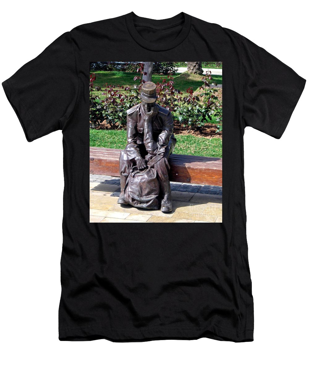 Mailman Men's T-Shirt (Athletic Fit) featuring the photograph Bronze Mailman Resting by Jay Milo