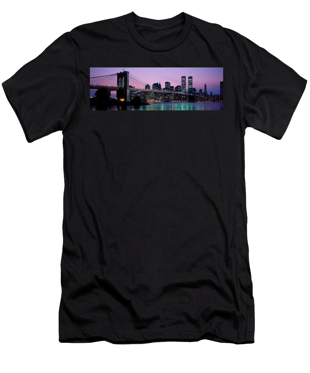 Photography Men's T-Shirt (Athletic Fit) featuring the photograph Brooklyn Bridge New York Ny Usa by Panoramic Images