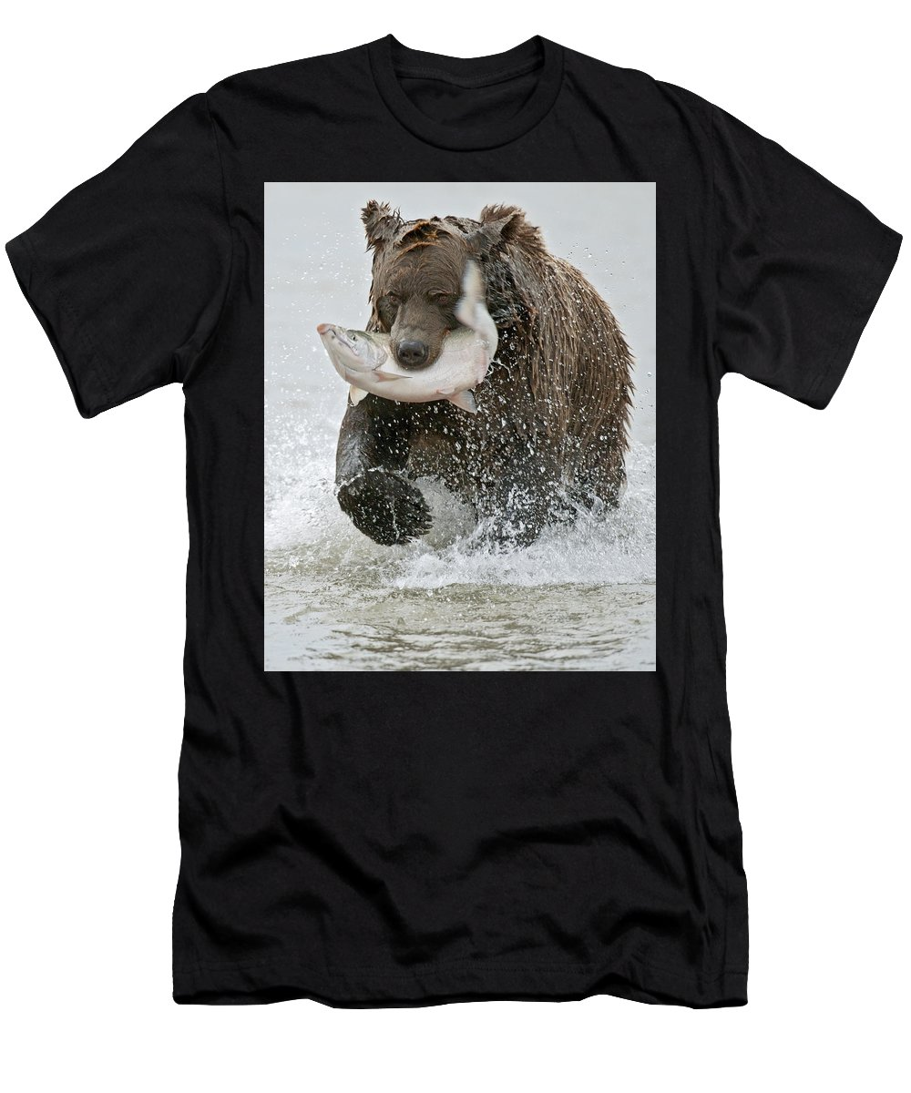 Wild Men's T-Shirt (Athletic Fit) featuring the photograph Brown Bear With Salmon Catch by Gary Langley