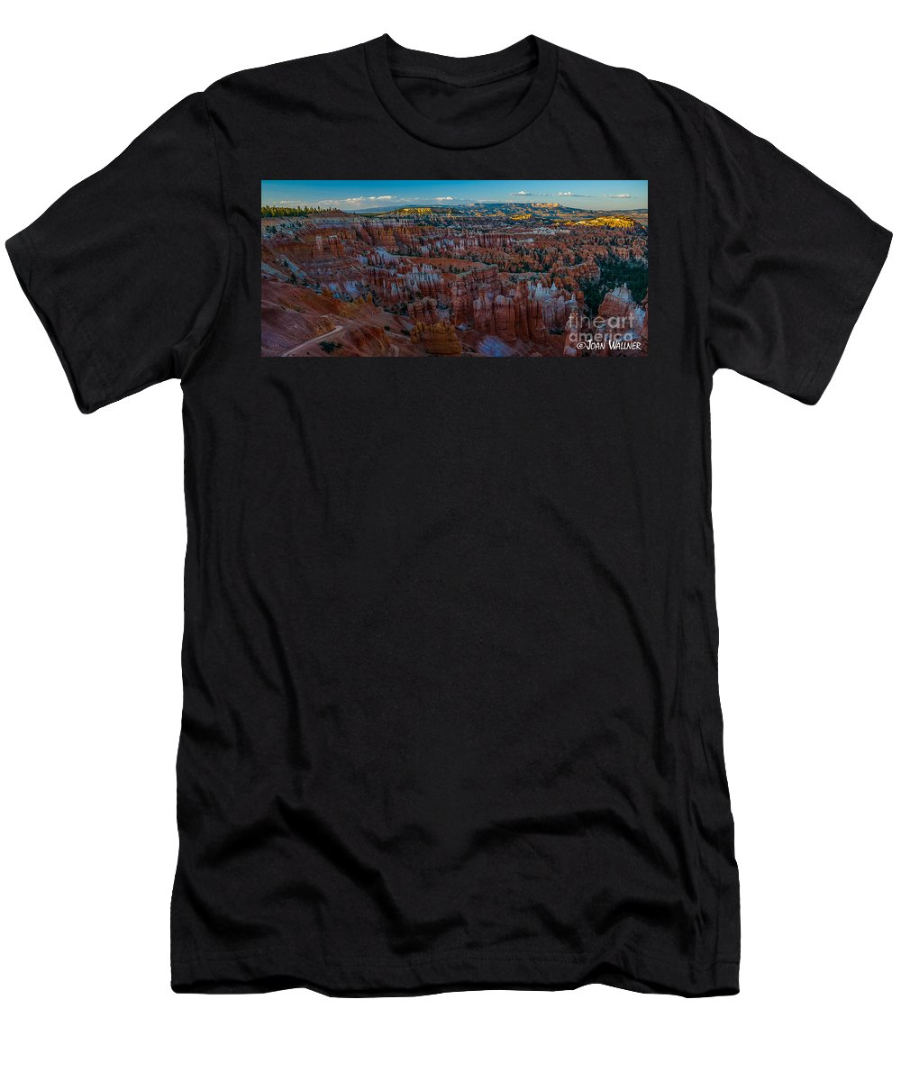 Bryce National Park Men's T-Shirt (Athletic Fit) featuring the photograph A Panorama Bryce Canyon Sunrise by Joan Wallner