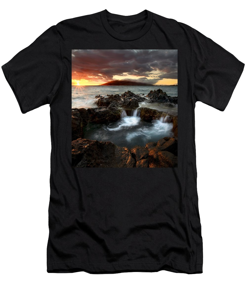 Sunset Men's T-Shirt (Athletic Fit) featuring the photograph Bubbling Cauldron by Mike Dawson