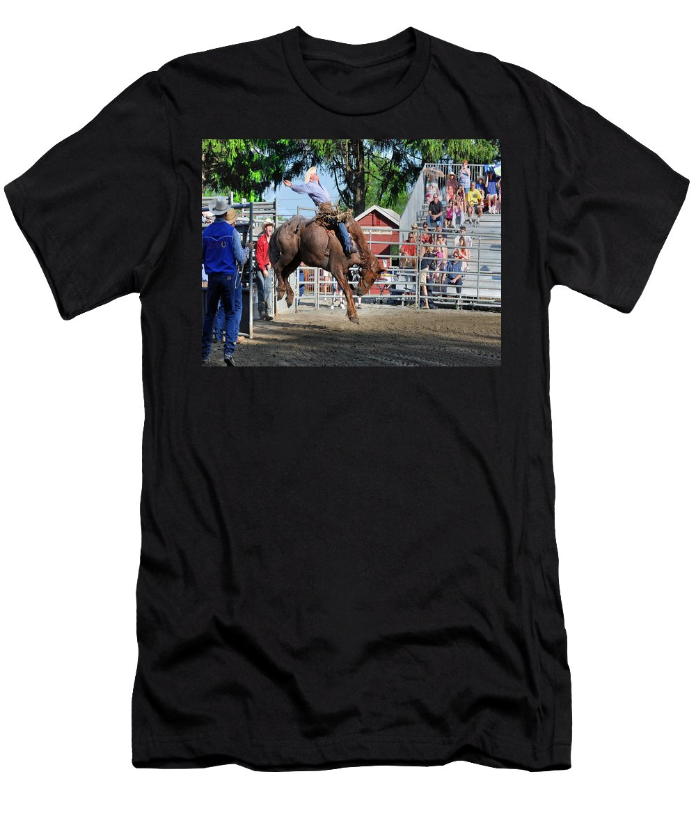 Cowboy Men's T-Shirt (Athletic Fit) featuring the photograph Bucking Bronco Haven by Gary Keesler
