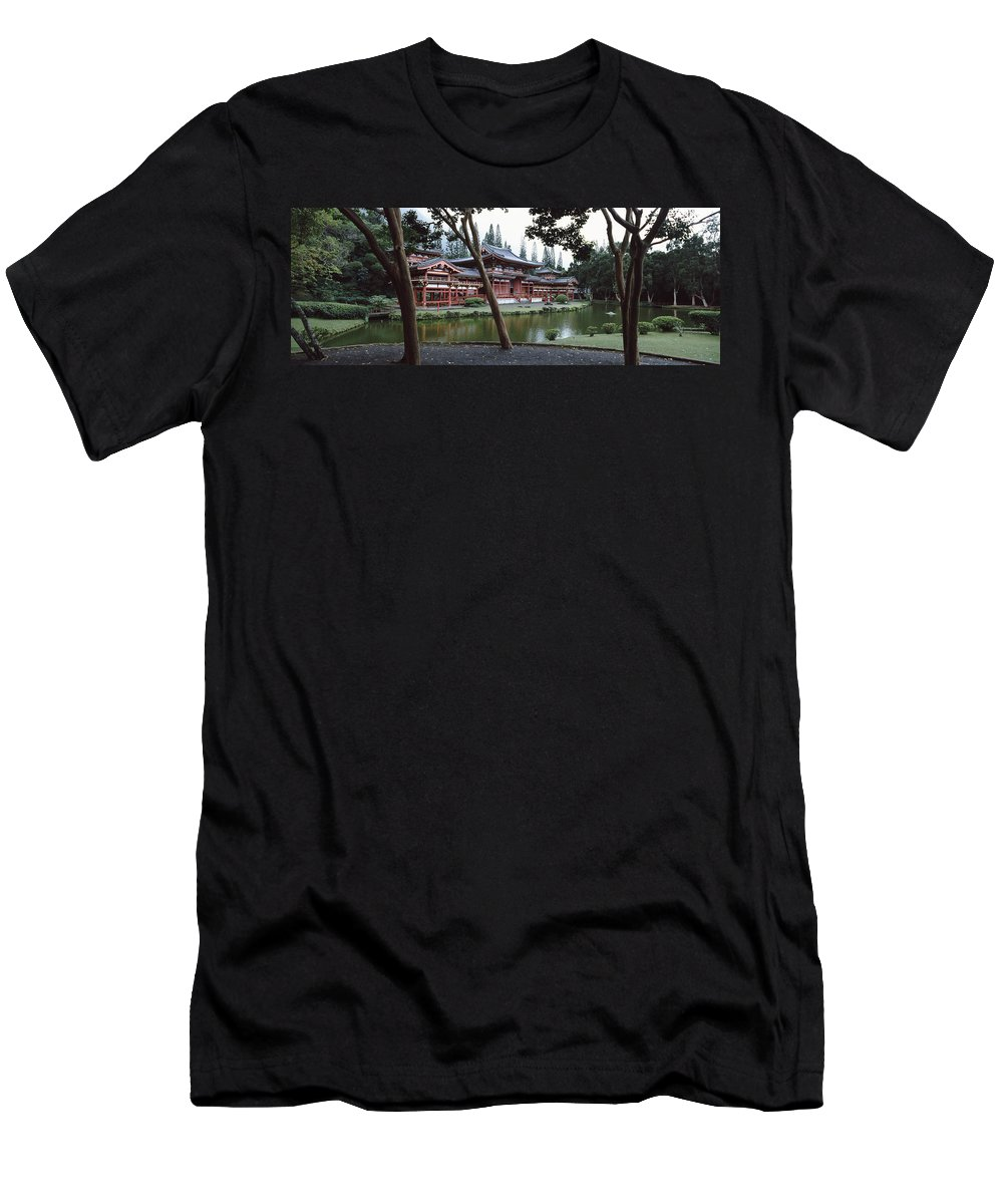 Photography Men's T-Shirt (Athletic Fit) featuring the photograph Buddhist Temple, Byodo-in Temple by Panoramic Images