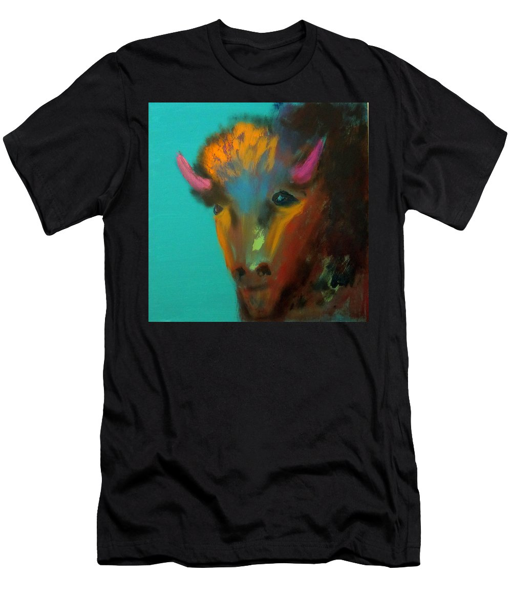 Landscape Men's T-Shirt (Athletic Fit) featuring the painting Buffalo by Keith Thue