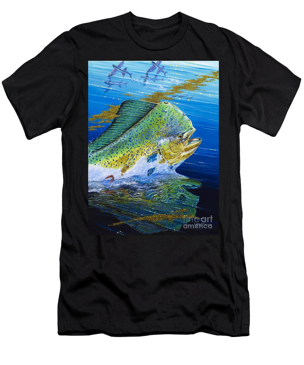 Bull Dolphin Men's T-Shirt (Athletic Fit) featuring the painting Bull Reflection Off0032 by Carey Chen