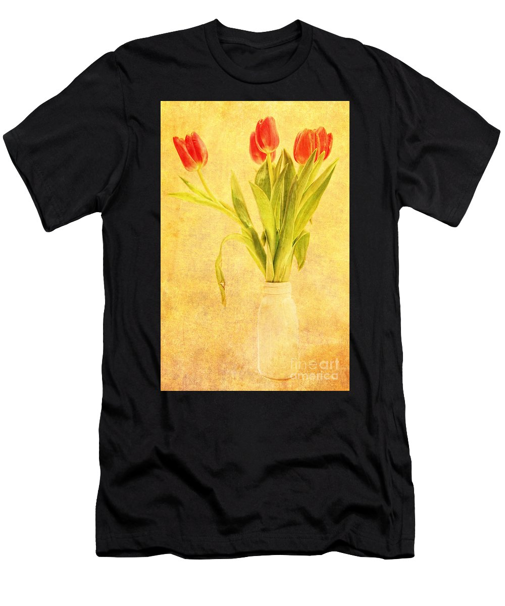 Bunch Men's T-Shirt (Athletic Fit) featuring the photograph Bunch Of Tulips by Lori Frostad