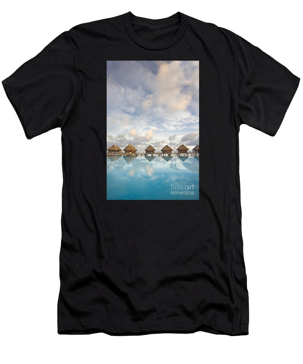 Above Men's T-Shirt (Athletic Fit) featuring the photograph Bungalows Over Ocean II by M Swiet Productions