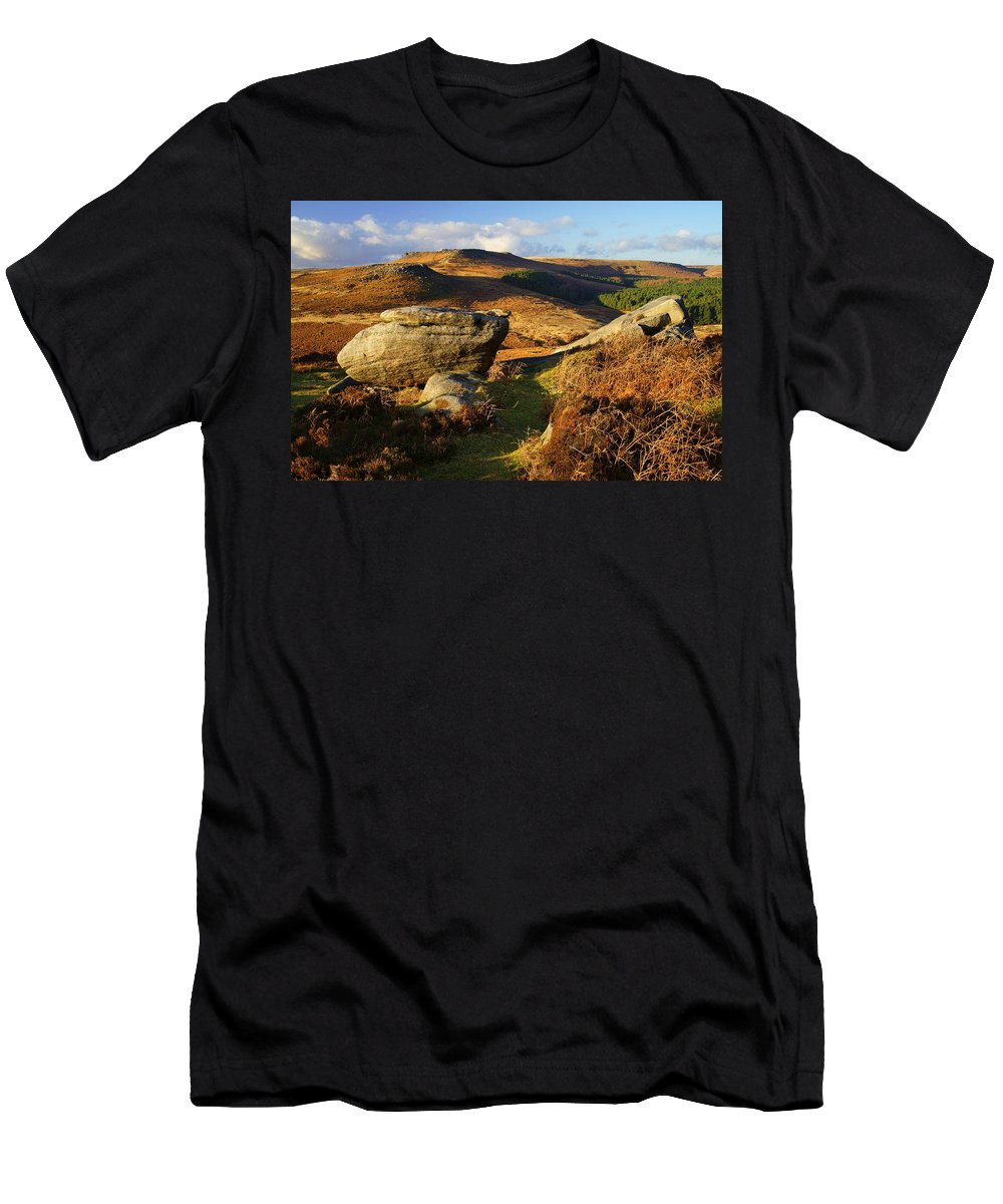 Landscape Men's T-Shirt (Athletic Fit) featuring the photograph Burbage Rocks by Darren Galpin