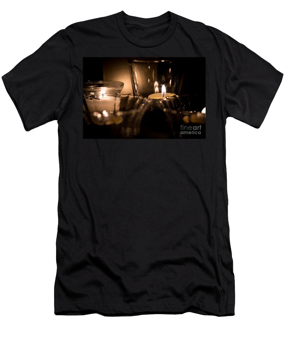 Men's T-Shirt (Athletic Fit) featuring the photograph Burning Candles by Cheryl Baxter