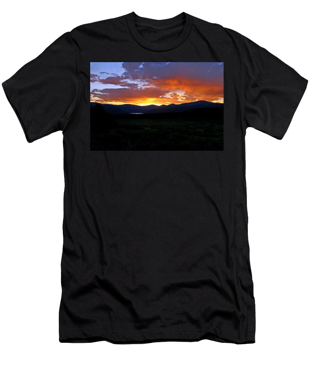 Sunset Men's T-Shirt (Athletic Fit) featuring the photograph Burning Of Uncertainty by Jeremy Rhoades