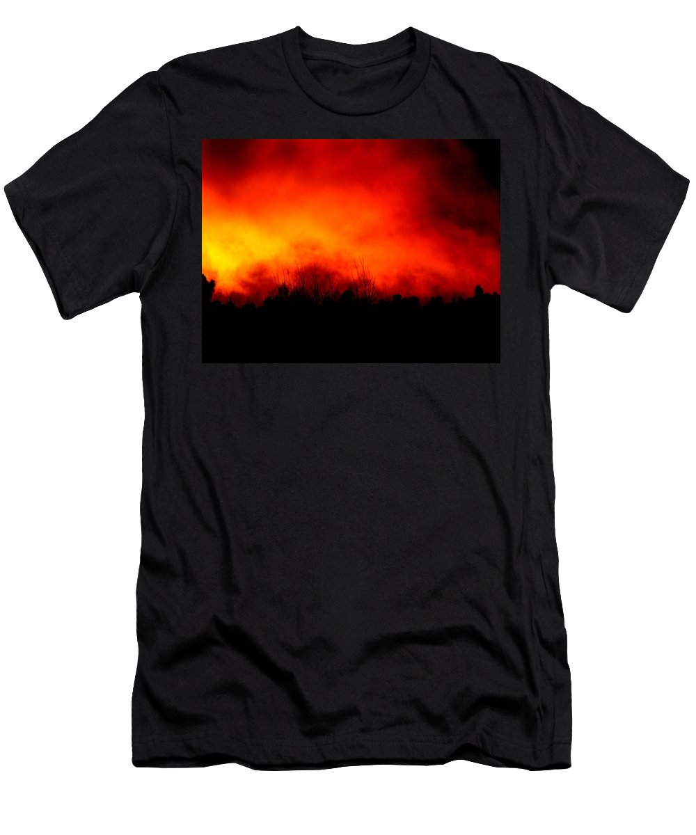 Fire Sunset Cloud Bushfire Brushfire Flame Landscape Forest Men's T-Shirt (Athletic Fit) featuring the photograph Burning Sky by Guy Pettingell