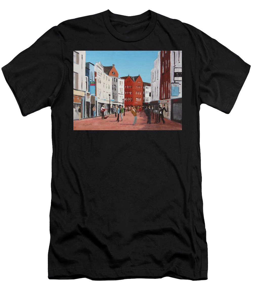 Streetscape Men's T-Shirt (Athletic Fit) featuring the painting Busking On Grafton Street by Tony Gunning