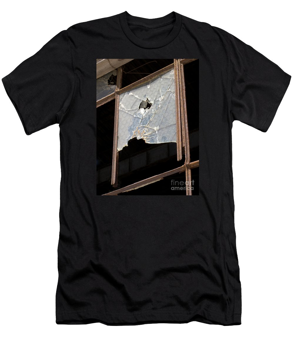 Window Men's T-Shirt (Athletic Fit) featuring the photograph Busted by Ann Horn