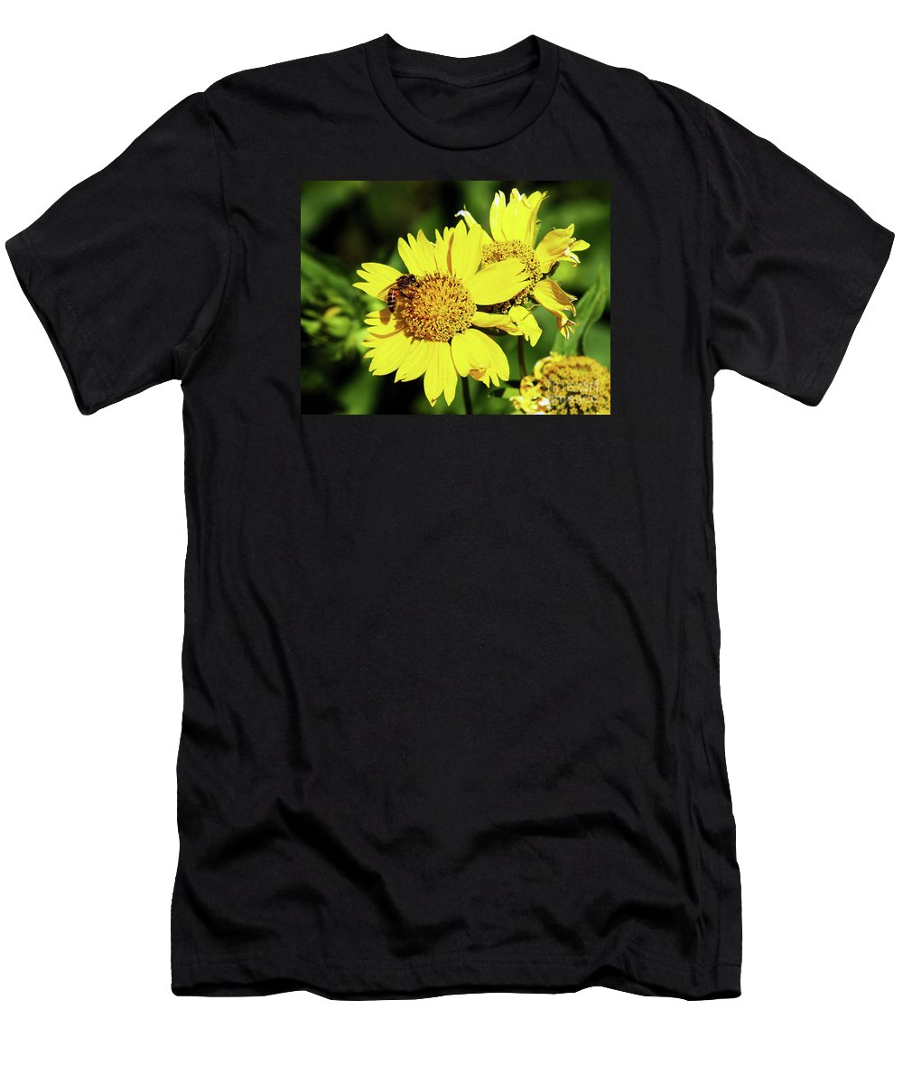 Bee Photography Men's T-Shirt (Athletic Fit) featuring the photograph Busy Bee by Patricia Griffin Brett