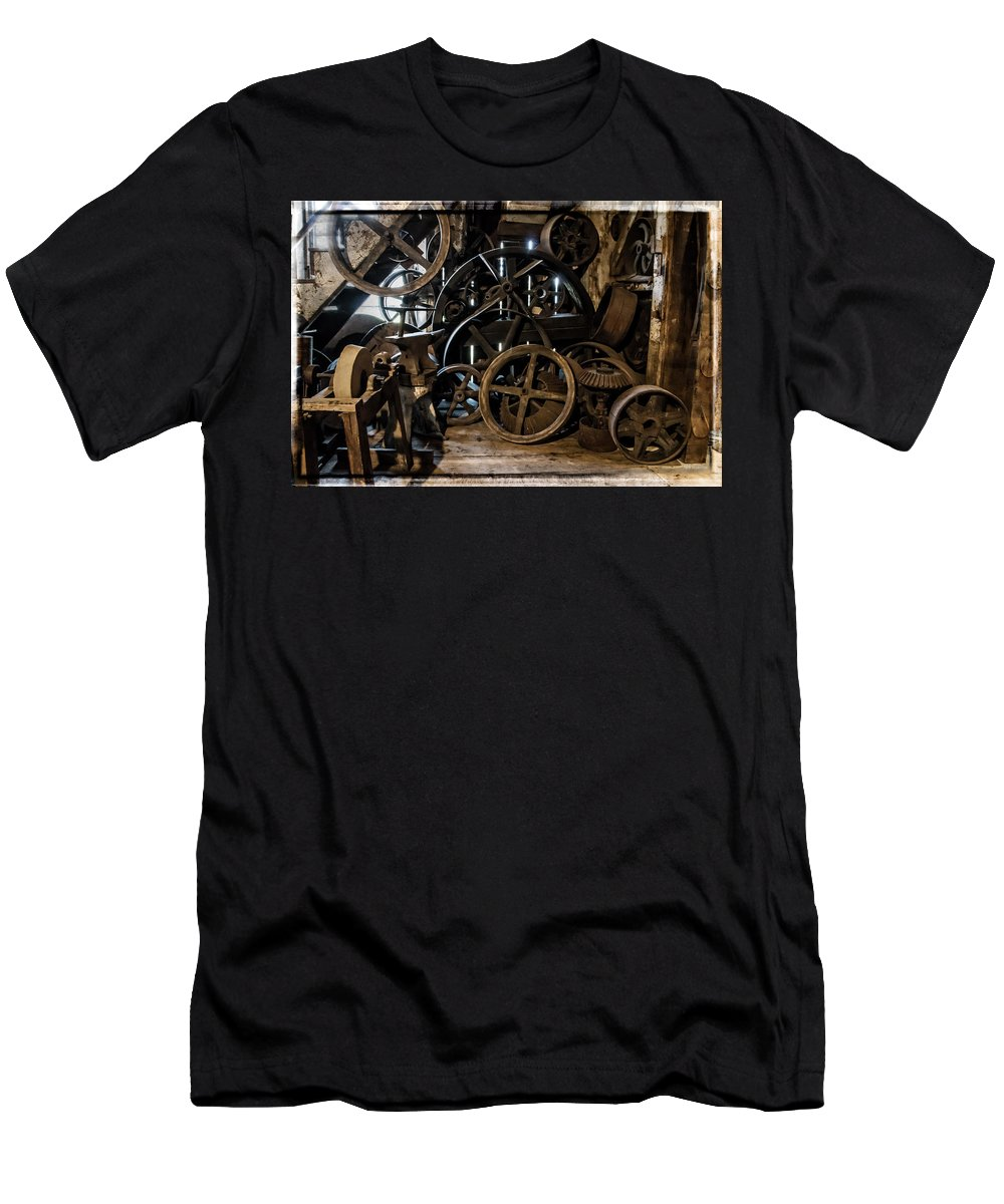 Special Effect Men's T-Shirt (Athletic Fit) featuring the photograph Butte Creek Mill Interior Scene by Mick Anderson