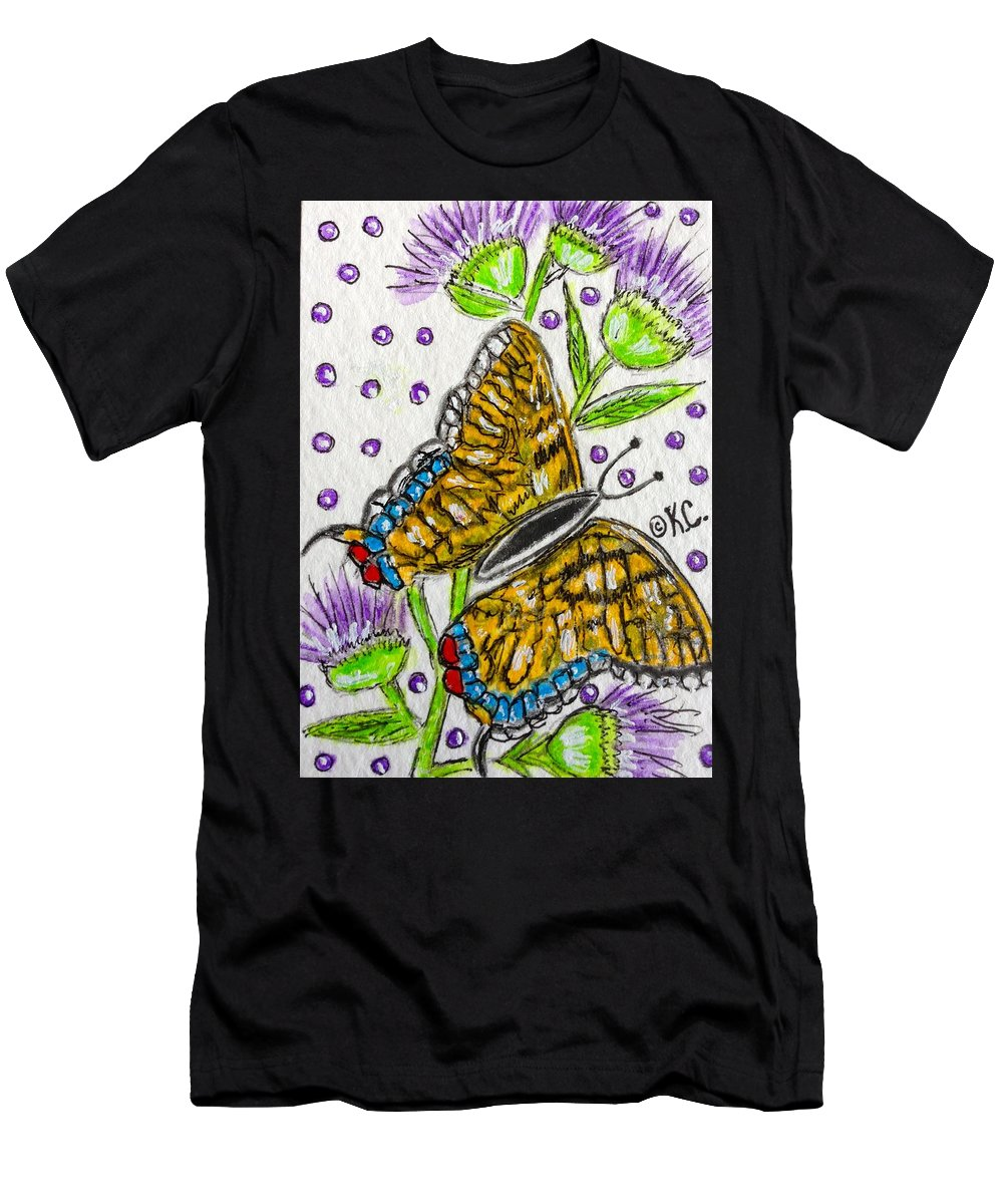 Butterfly Men's T-Shirt (Athletic Fit) featuring the painting Butterfly And Thistles by Kathy Marrs Chandler