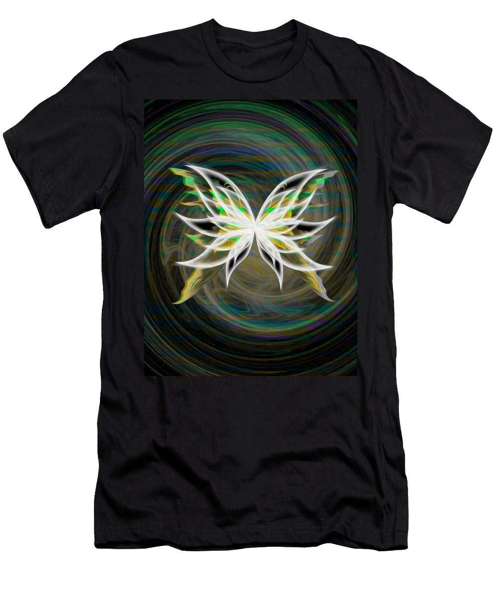 Green Men's T-Shirt (Athletic Fit) featuring the digital art Butterfly Glow by Teri Schuster