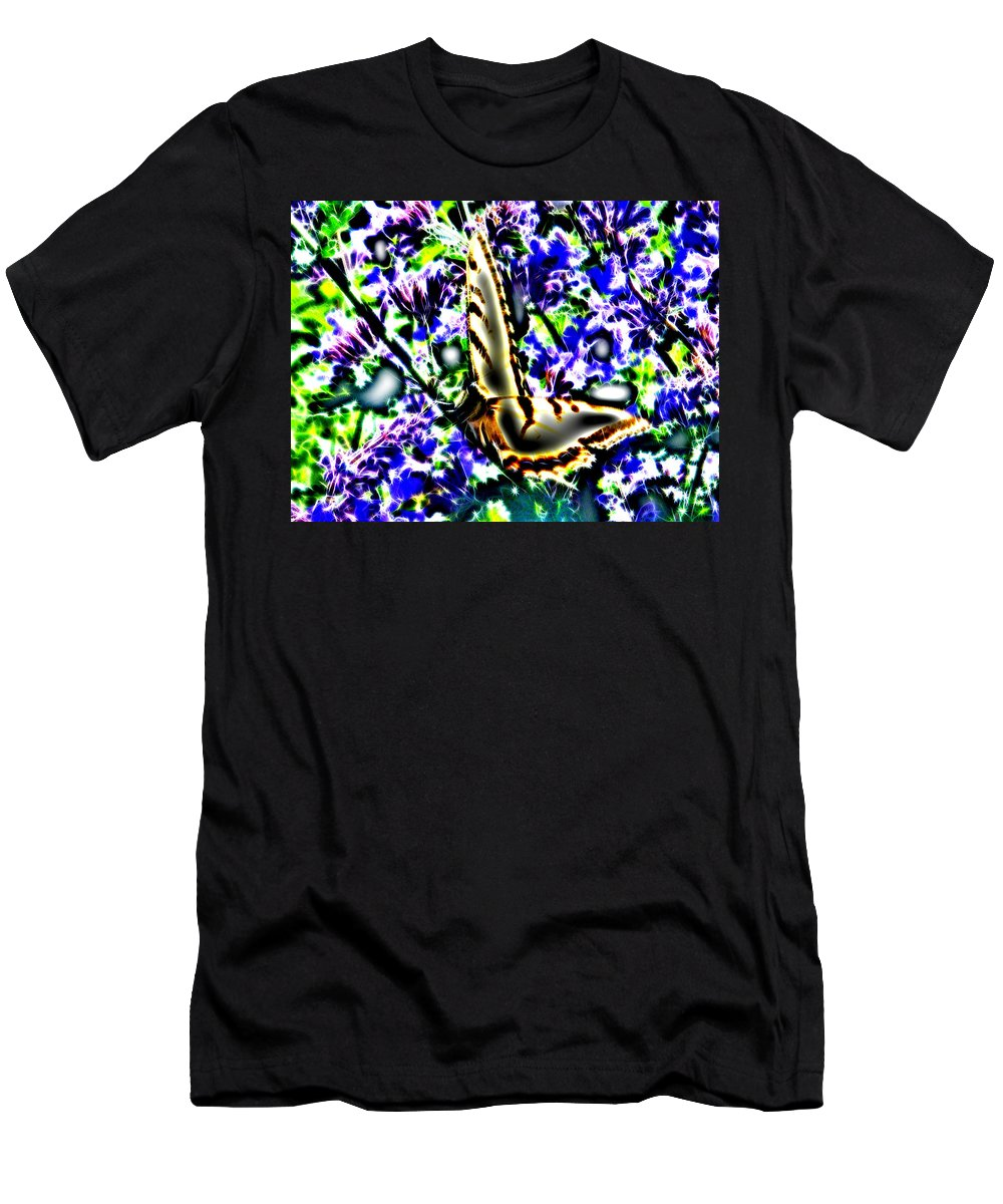 Butterfly Men's T-Shirt (Athletic Fit) featuring the digital art Butterfly With Purple Flowers 4 by April Patterson