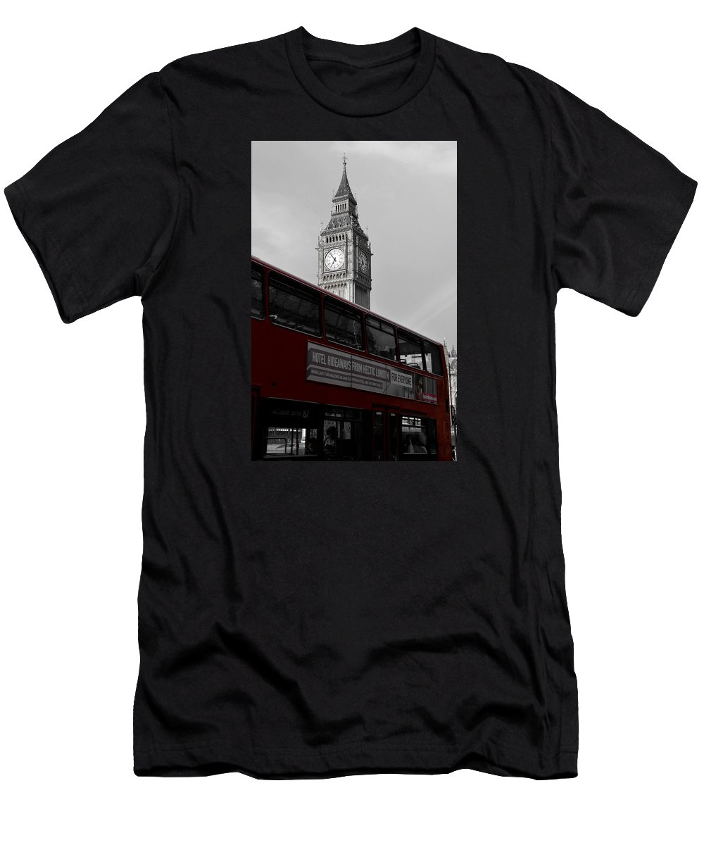 Red Men's T-Shirt (Athletic Fit) featuring the photograph Bw Big Ben And Red London Bus by RicardMN Photography