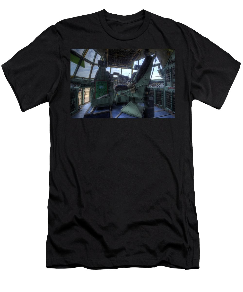 Lockheed Men's T-Shirt (Athletic Fit) featuring the photograph C-130 Cockpit by David Dufresne