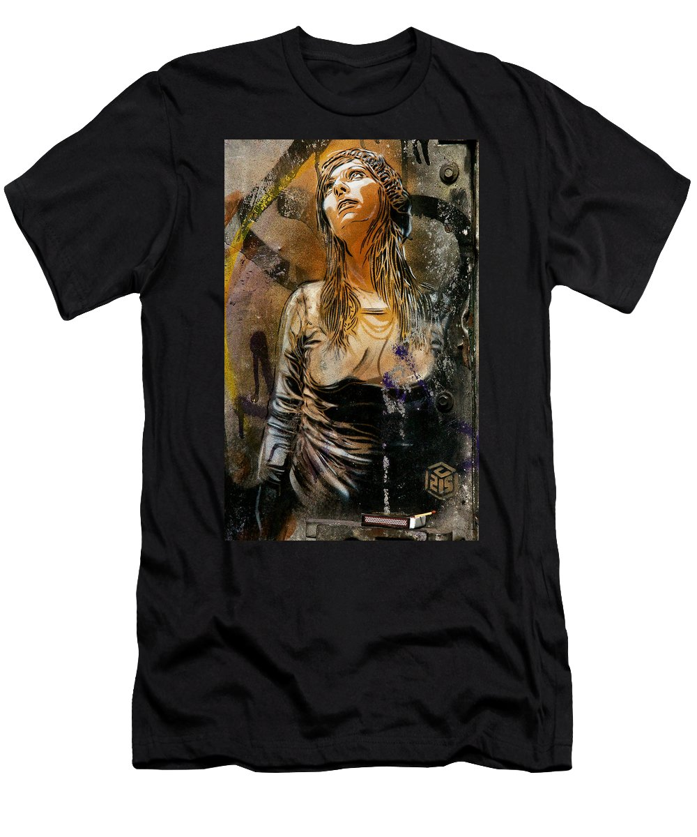 London Street Art Men's T-Shirt (Athletic Fit) featuring the photograph C215 Beautiful Model by David Resnikoff