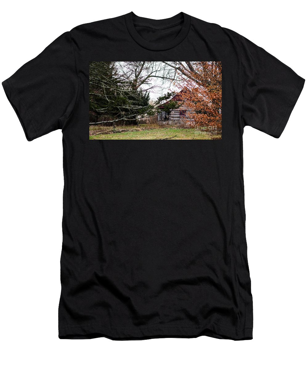 Cabin Men's T-Shirt (Athletic Fit) featuring the photograph Cabin In The Woods by Judy Wolinsky