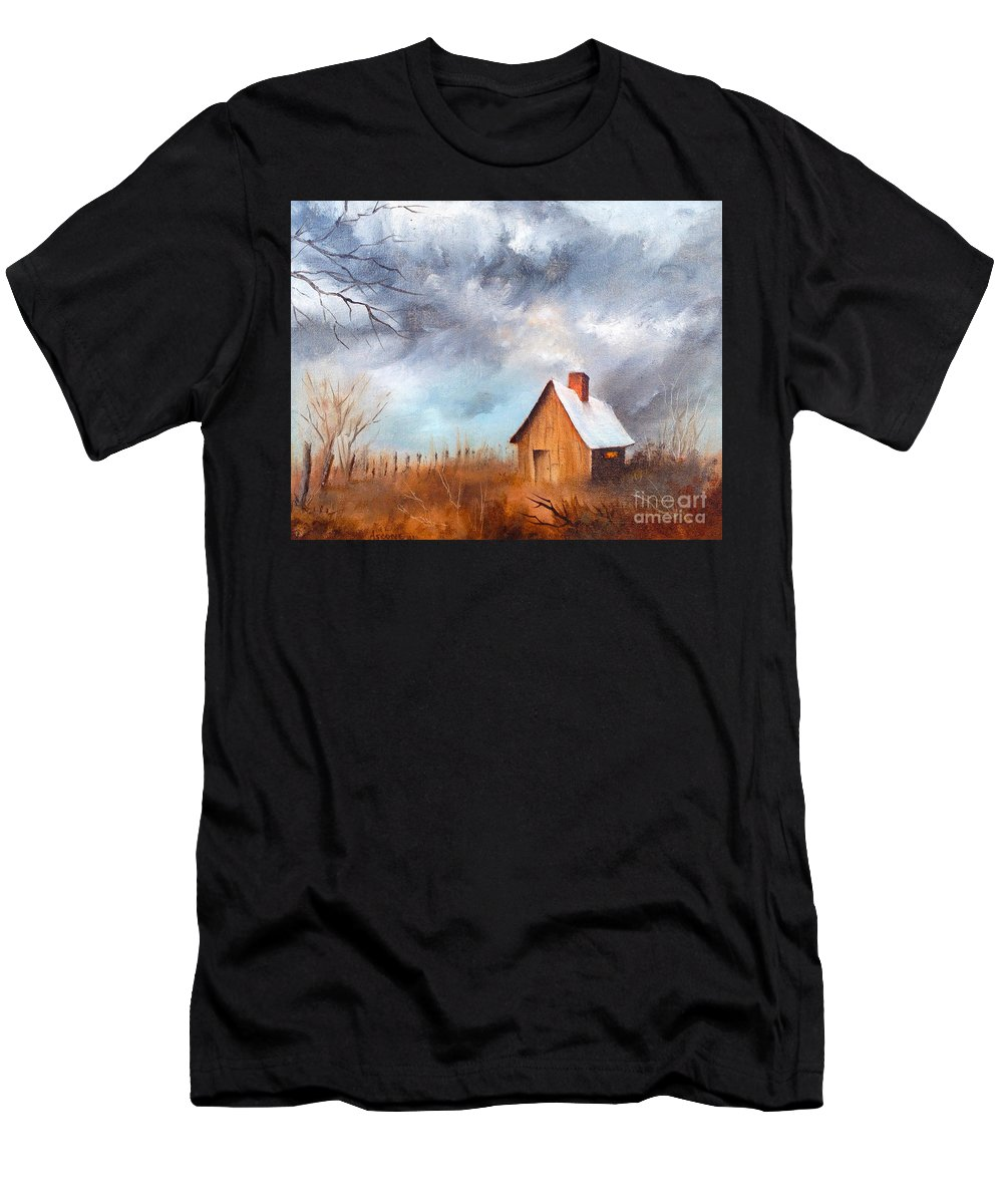 Cabin With Fence Men's T-Shirt (Athletic Fit) featuring the painting Cabin With Fence by Teresa Ascone