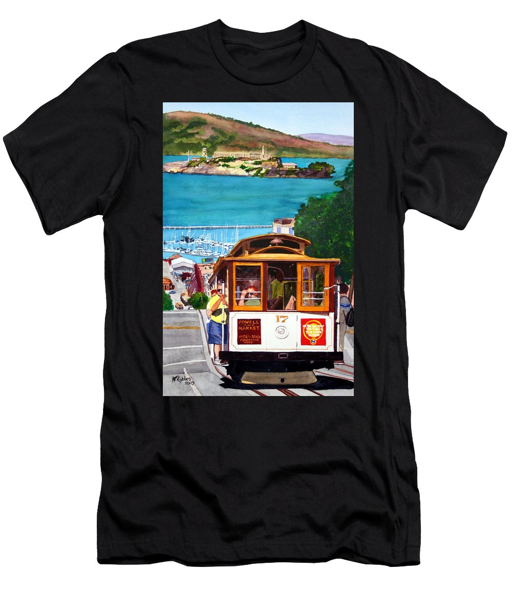 San Francisco Men's T-Shirt (Athletic Fit) featuring the painting Cable Car No. 17 by Mike Robles