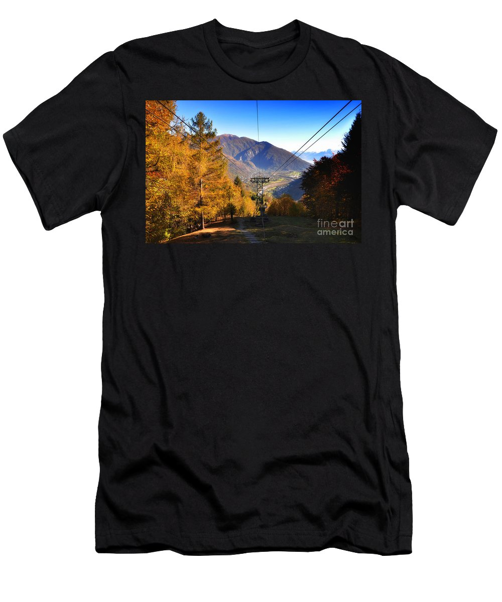 Cableway Men's T-Shirt (Athletic Fit) featuring the photograph Cableway In Autumn by Mats Silvan