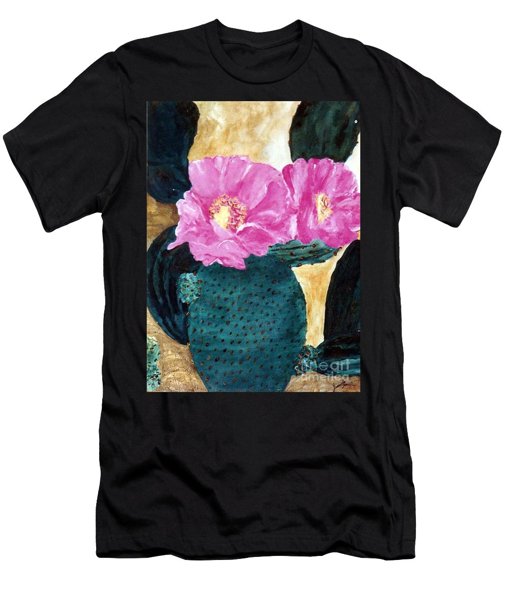 Cactus Men's T-Shirt (Athletic Fit) featuring the painting Cactus And The Pink Flower by Graciela Castro