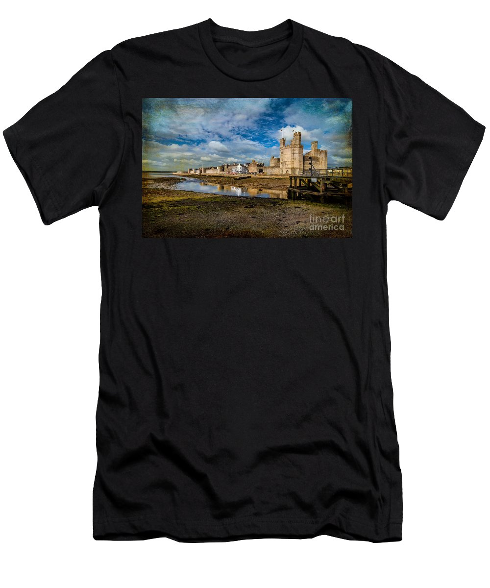British Men's T-Shirt (Athletic Fit) featuring the photograph Caernarfon Castle by Adrian Evans