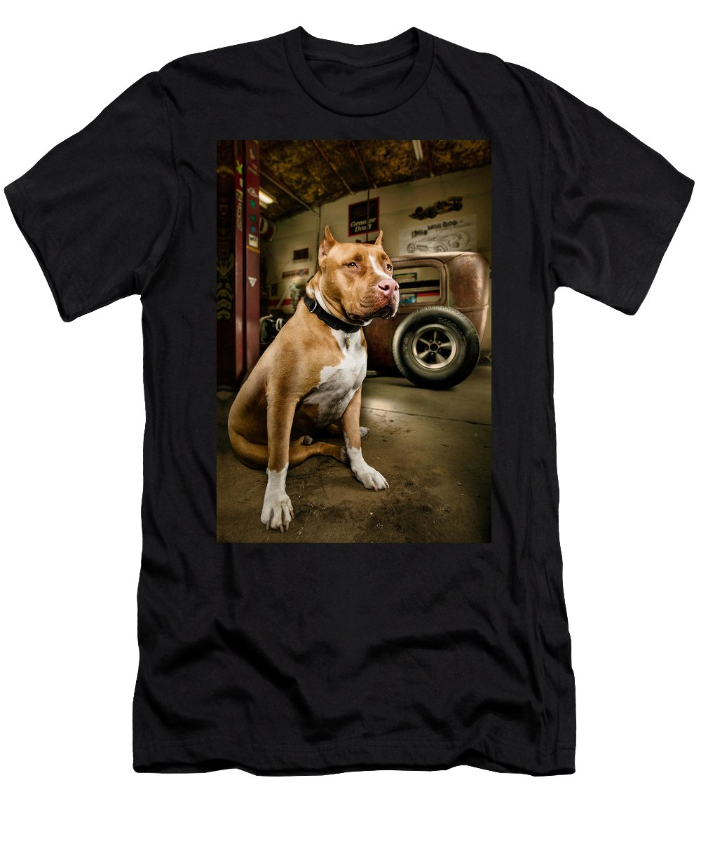 Hotrod Men's T-Shirt (Athletic Fit) featuring the photograph Caesar At Millers Chop Shop by Yo Pedro