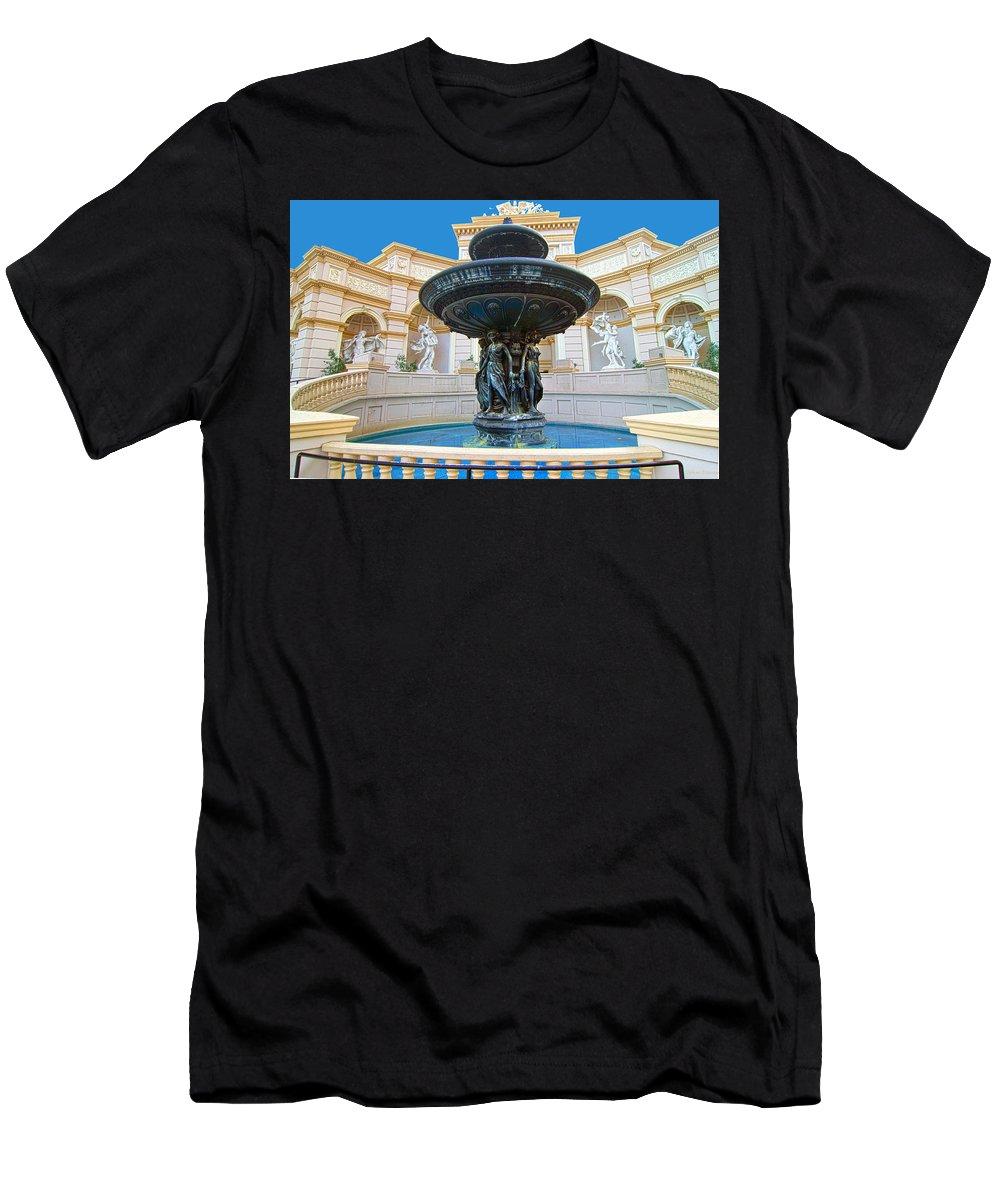 Caesars Men's T-Shirt (Athletic Fit) featuring the photograph Caesars Fountain by John Dauer