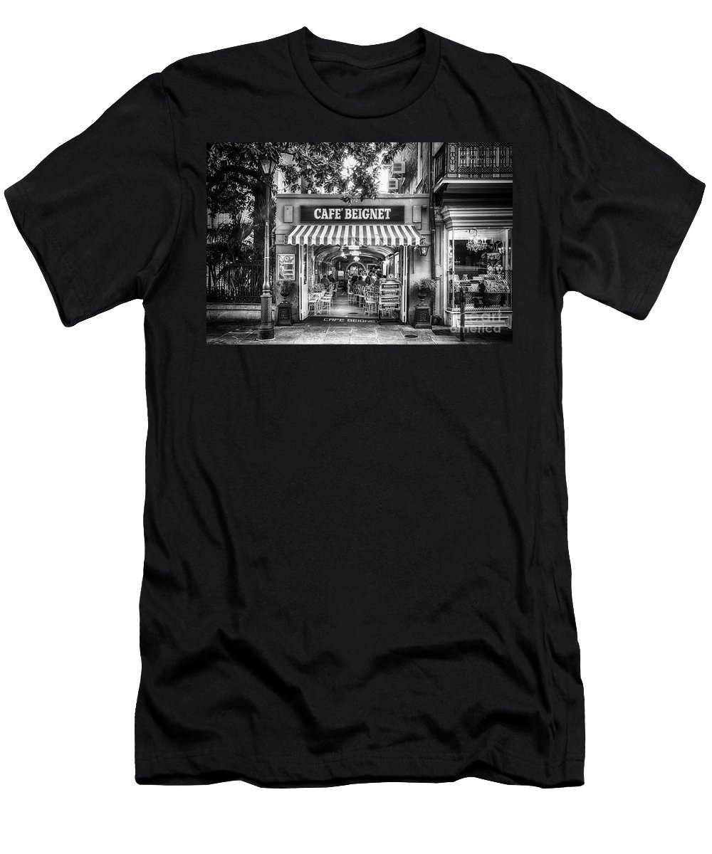 Nola Men's T-Shirt (Athletic Fit) featuring the photograph Cafe Beignet Morning Nola - Bw by Kathleen K Parker