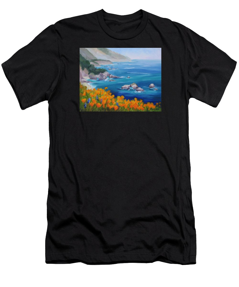 Big Sur Men's T-Shirt (Athletic Fit) featuring the painting California Poppies Big Sur by Karin Leonard