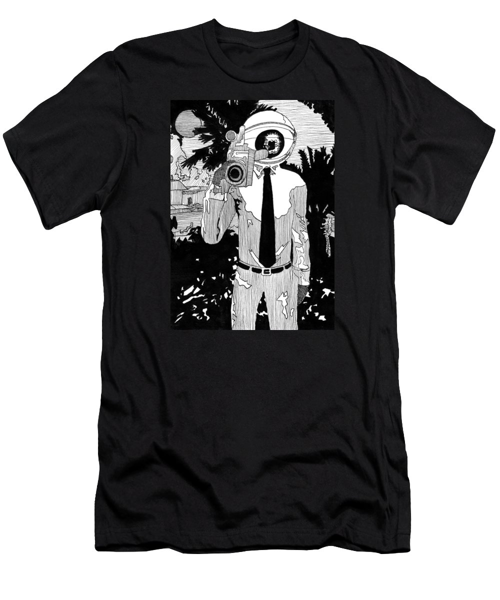 Camera Men's T-Shirt (Athletic Fit) featuring the drawing Camera Man by Matthew Howard