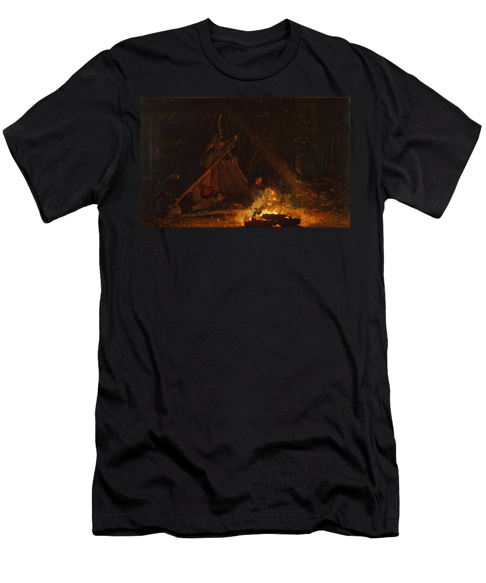 Winslow Homer Men's T-Shirt (Athletic Fit) featuring the painting Camp Fire by Winslow Homer
